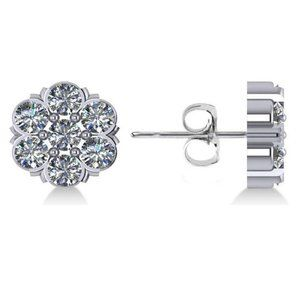 Jewelry - Flower shape studs earring 3.50 ct round cut diamo